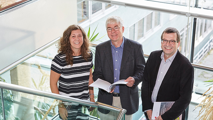 CliCCS-Co-Sprecherin Prof. Dr. Anita Engels, CliCCS-Sprecher Prof. Dr. Detlef Stammer und CliCCS-Co-Sprecher Prof. Dr. Jochem Marotzke (v.l.)