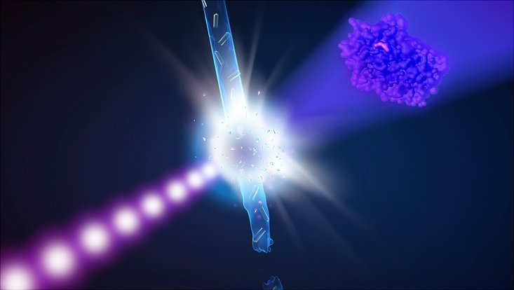 Darstellung von Röntgenlaserblitzen, die auf Proteinkristalle treffen