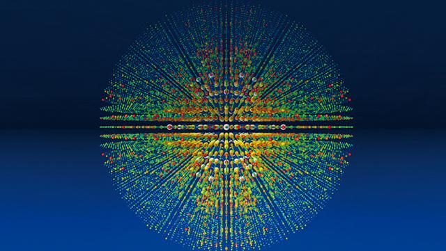 Streubild, das bei der Strukturanalyse eines Proteins mit Röntgenlasern entsteht