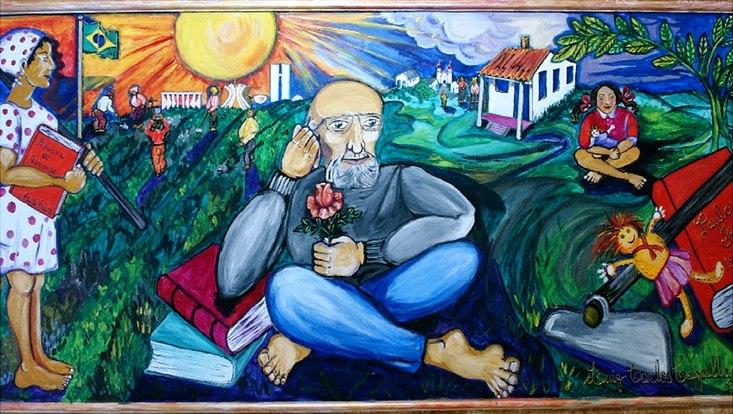 Wandbild mit Paulo Freire