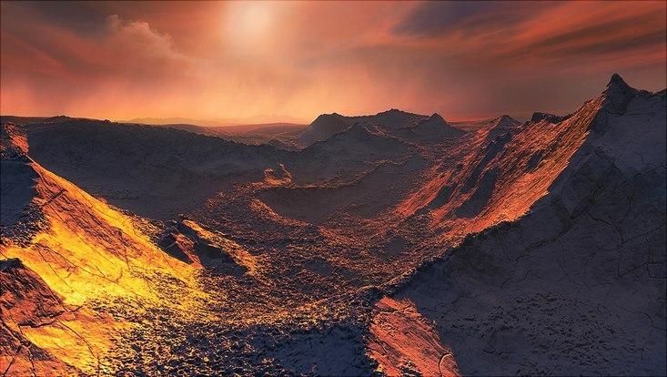 Künstlerische Illustration eines Sonnenuntergangs auf Barnards Stern b