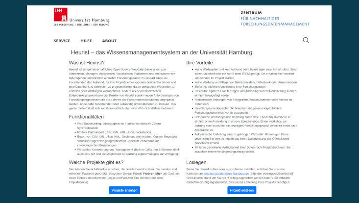 Bild der Startseite des Heurist-Systems.