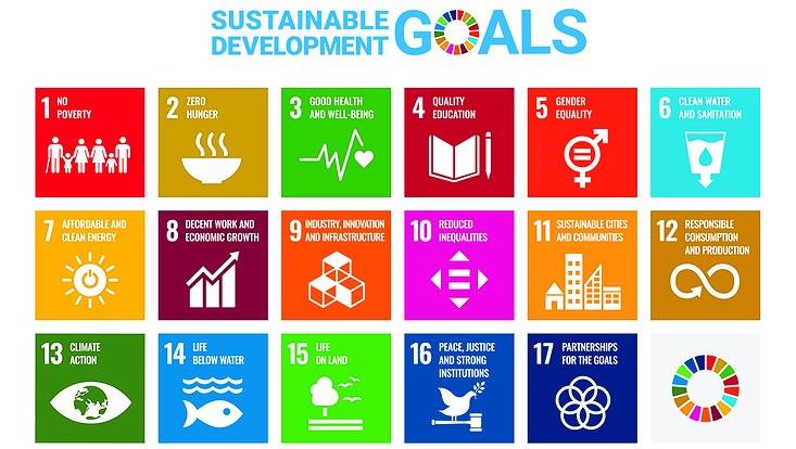 Die 17 SDGs sind in einzelnen Würfeln dargestellt.
