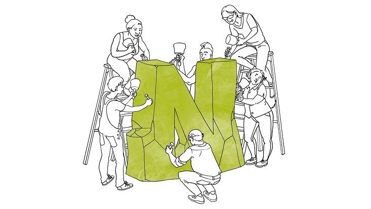 Zeichnung, sechs Personen bearbeiten mit Hammer und Meisel ein grünes N aus Stein