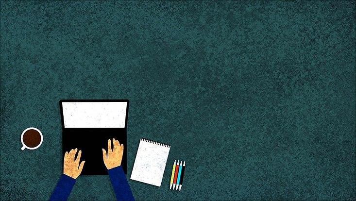 Grafische Darstellung eines Laptops, auf dem Hände tippen und daneben befinden sich eine Tasse, ein Notizblock sowie vier Stifte
