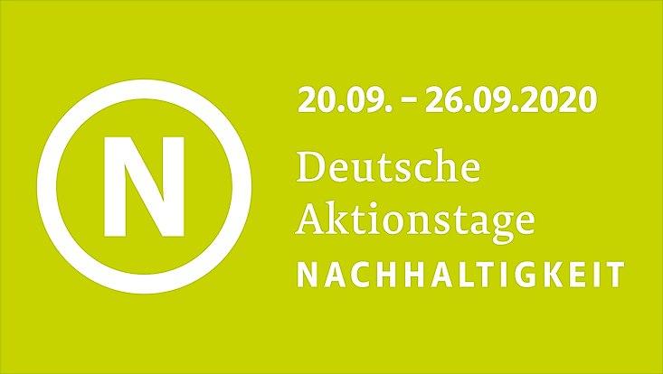 Das Logo der Aktionstage sowie der Aktionszeitraum in weißer Schrift vor hellgrünem Hintergrund