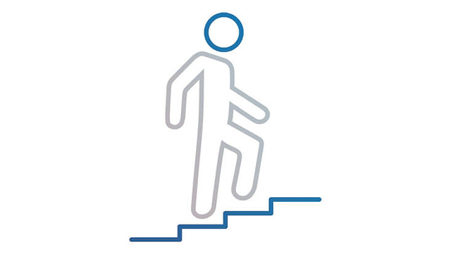 Icon Man climbs stairs