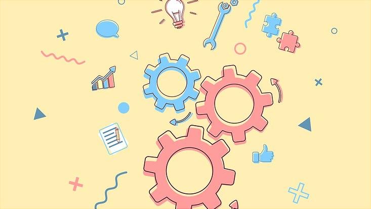 Vor gelbem Hintergrund sind verschiedene Element, die Zusammenarbeit darstellen sollen illustriert, zum Beispiel ineinandergreifende Zahnräder und Puzzleteile und eine Glühbirne.