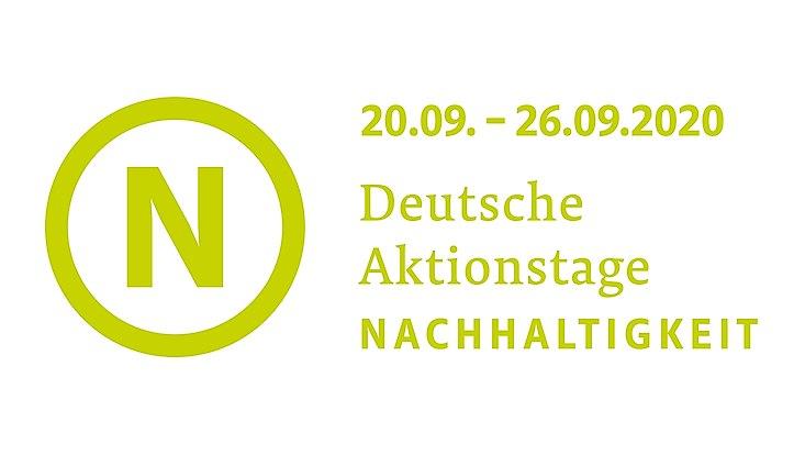Das Logo der Aktionstage sowie der Aktionszeitraum in grüner Schrift vor weißem Hintergrund