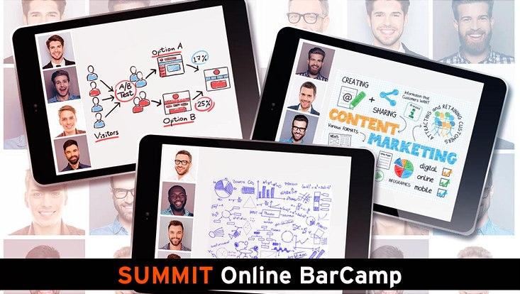 Das Bild zeigt Tablets mit Darsellungen aus dem Online-Barcamp beim E-Learning-Summit 2020.