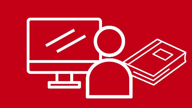 Symbolbild auf dem ein PC, ein stilisierter Mensch und ein Buch abgebildet sind.