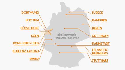 Deutschland-Silhouette mit Partnerstandorten des stellenwerks auf der rechten und linken Seite: Dortmund, Bochum, Düsseldorf, Köln, Bonn-Rhein-Sieg, Koblenz-Landau, Mainz, Lübeck, Hamburg, Berlin, Göttingen, Darmstadt, Erlangen-Nürnberg und Stuttgart