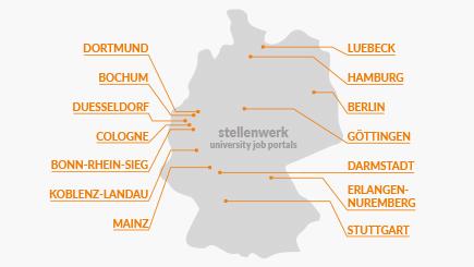 Silhouette of Germany with partner locations of stellenwerk on the right and left side: Dortmund, Bochum, Düsseldorf, Cologne, Bonn-Rhine-Sieg, Koblenz-Landau, Mainz, Lübeck, Hamburg, Berlin, Göttingen, Darmstadt, Erlangen-Nuremberg and Stuttgart