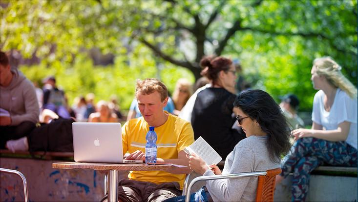 Studierende am Campus