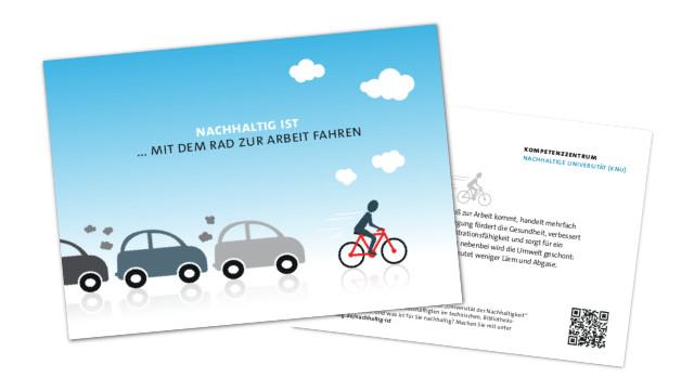 Postkarte mit dem Rad zur Arbeit