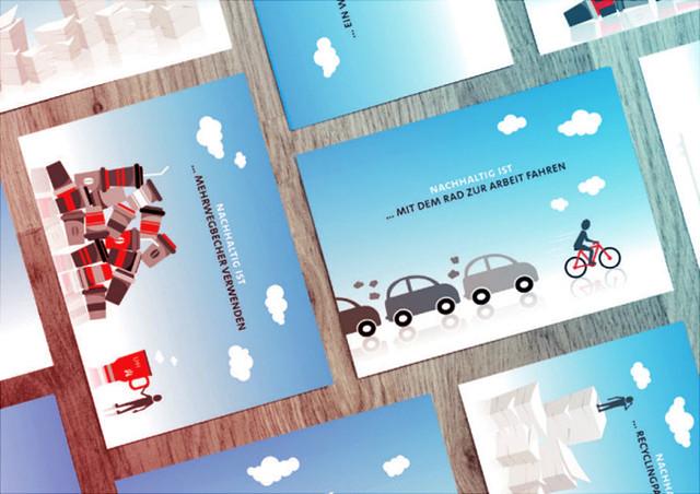 Banner mit Postkarten, in rechteckigem Muster angeordnet