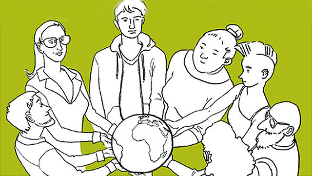Illustration Menschen halten die Erde