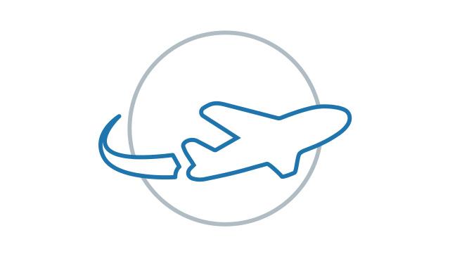 Icon Flugzeug fliegt um Welt