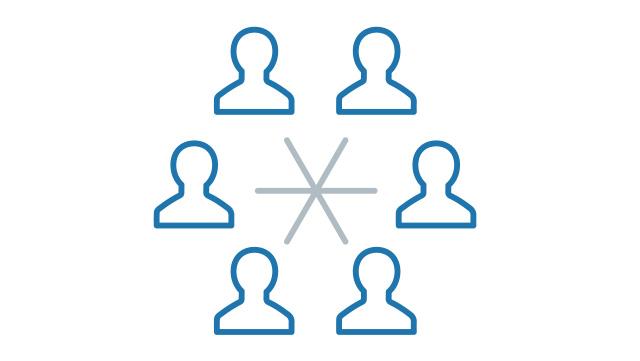 Icon Personen durch Striche vernetzt