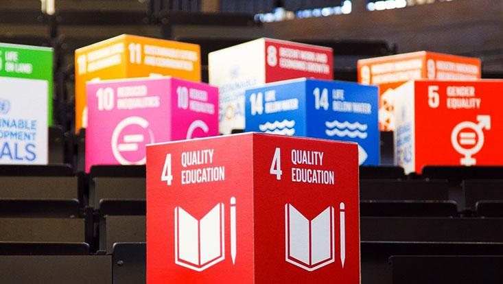 Die SDG's in Form von Pappwürfeln