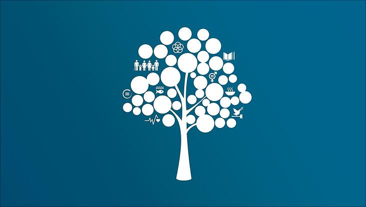 Weißer Baum mit Nachhaltigkeitssymbolen vor blauem Hintergrund