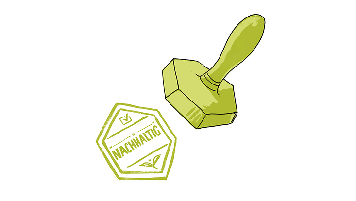 """Illustration eines grünen Stempels mit der Aufschrift """"garantiert nachhaltig"""""""