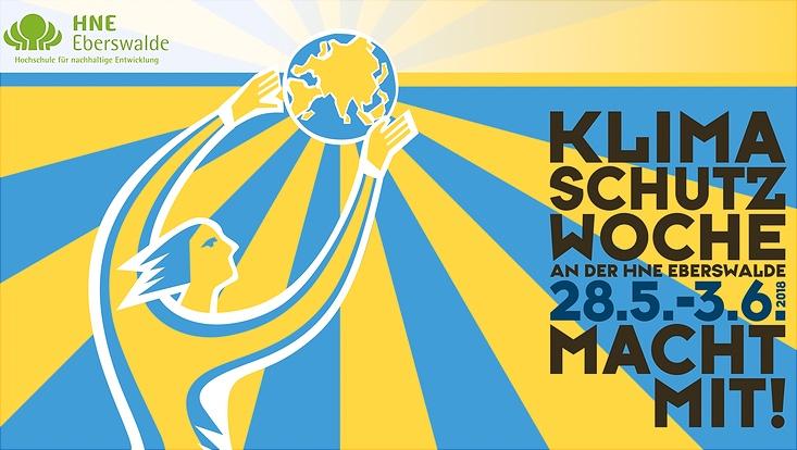 Logo der Klimaschutzwoche 2018 der Hochschule für Nachhaltige Entwicklung Eberswalde, eine abstrakte menschliche Figur greift mit ausgestreckten Armen nach einer Weltkugel, alles ist in blau-gelb gehalten, der Hintergrund blau-gelb gestreift.