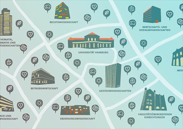 Eine  Karte auf der die Forschungseinrichtungen der Universität Hamburg abgebildet sind