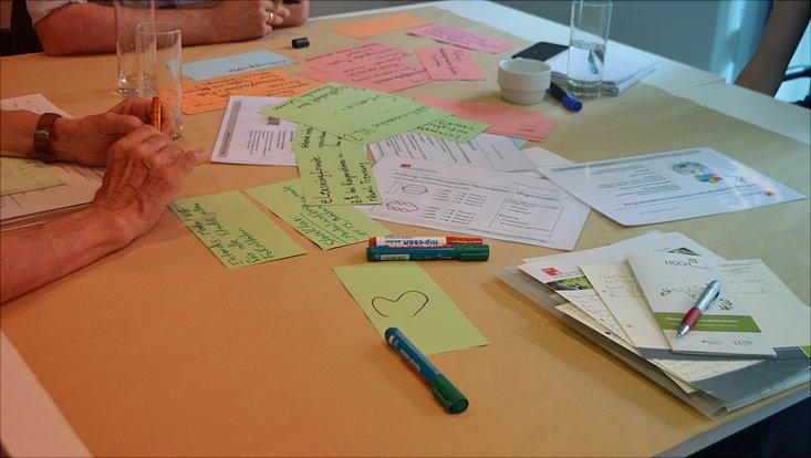 Ein Tisch mit Workshop-Material ist abgebildet.