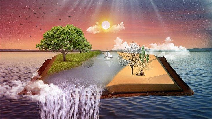 Während links im Bild ein grüner Baum steht ist auf der rechten Seite eine Wüstenlandschaft zu sehen. Getrennt werden die beiden Bereiche durch einen Fluß.