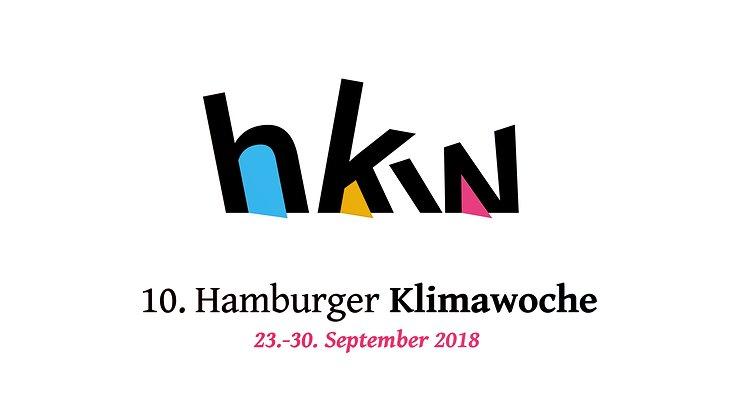 Das Logo der Hamburger Klimawoche sowie der Veranstaltungszeitraum ist abgebildet.