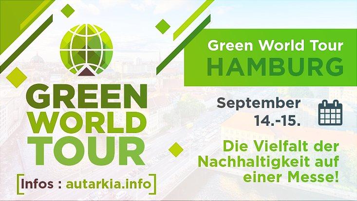 Das Logo der Green World Tour sowie der Veranstaltungstermin in Hamburg ist zu sehen.
