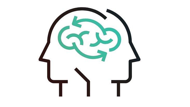 Eine Grafik mit zwei Köpfen die über Gedankenströme verbunden sind.