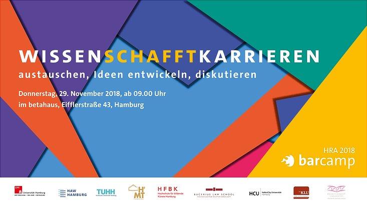 Das barcamp WissenSCHAFFTkarrieren der Hamburg Research Acamdemy findet am 29. November 2018 statt