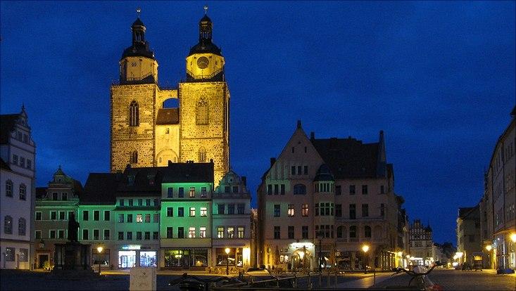 Foto von Wittenberge bei nächtlicher Beleuchtung