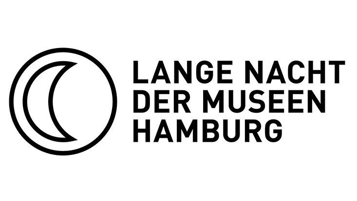 """Halbmond und Text """"Lange Nacht der Museen Hamburg"""""""