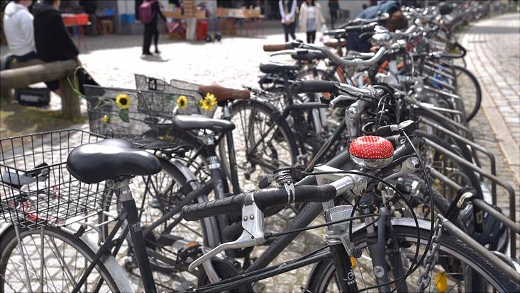 viele Fahrräder in einem Fahrradständer vor einem Universitätsgebäude