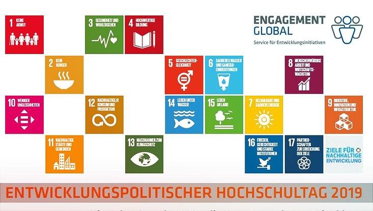 Die 17 UN-Ziele für eine Nachhaltige Entwicklung sind als Würfel abgebildet.