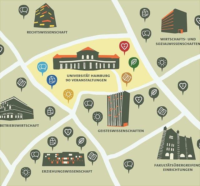 Die Karte zeigt Einrichtungen der Lehre der Uni Hamburg.