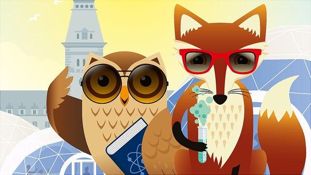 """Plakatmotiv von der Veranstaltung """"Sommer des Wissen"""": Illustration einer Eule und eines Fuchses"""