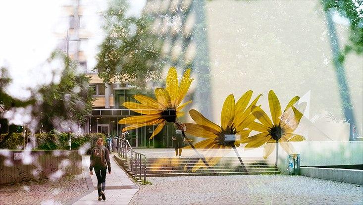 Campus der Uni Hamburg mit Studentin in Rückenansicht und zwei stilisierten Blumenblüten