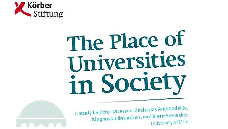 """Titelbild der Broschüre zur Studie, blaue Überschrift """"The Place of Universities in Society"""" und Logo der Körber-Stiftung"""