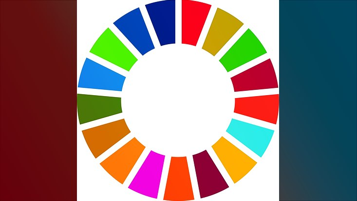Das Logo der Sustainable Development Goals: ein Rad mit 17 Farben