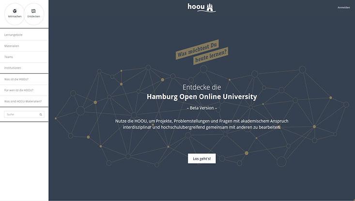 Screenshot der neuen HOOU-Plattform