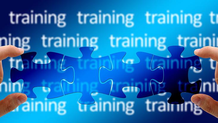 """Puzzleteile vor dem Hintergrund mit der mehrfachen Aufschrift """"Training"""""""
