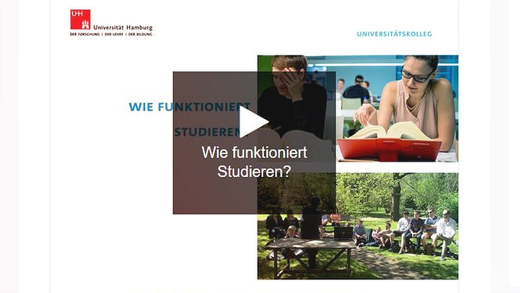 "Screenshot der interatkiven Präsentation ""Wie funktioniert Studieren?"" mit Play-Button"