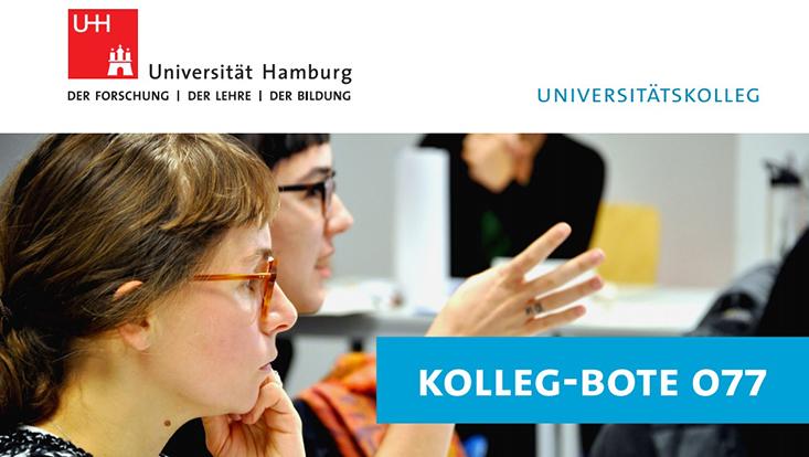 Coverbild des Kolleg-Boten 077, zwei Studentinnen mit Brille im Seminar, die eine zuhörend, die andere mit Händen gestikulierend