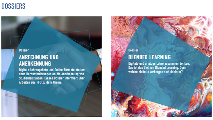Ausschnitt aus einem Screenshot zur Übersichtsseite der Themendossiers des HFD-Hochschulforum Digitalisierung