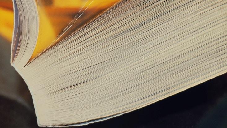 Foto mit einem Ausschnitt aus einem aufgeschlagenen, dicken Buch, von der Seite fotografiert