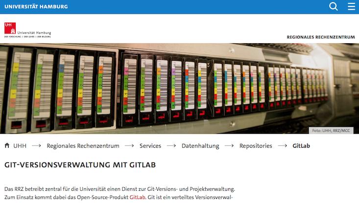 Screenshot Ausschnitt Webseite GitLab RRZ Universität Hamburg